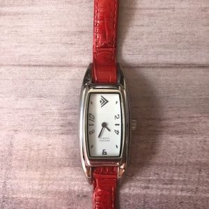 Silpada Red Leather Watch Retired with New Battery